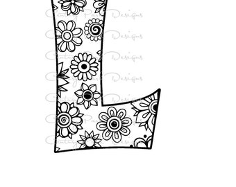 Letter L Alphabet Flowers SVG / JPEG / PNG /pdf / use with Silhouette Studio and Cricut Design Space - Commercial Use - Adult Coloring Page