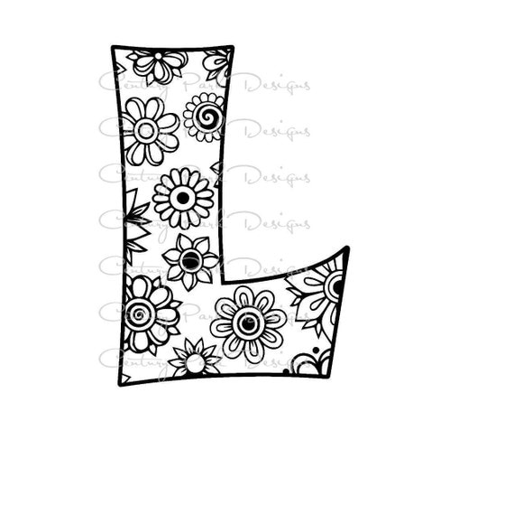 l flower coloring pages | Letter L Alphabet Flowers SVG / JPEG / PNG /pdf / use with