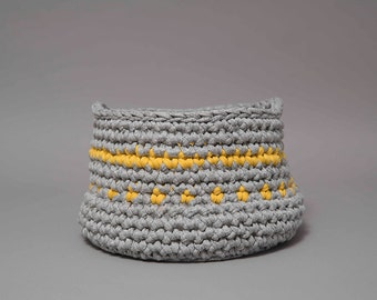 Small storage basket, grey and yellow crochet basket, bathroom storage, nursery storage, toy storage, bedroom storage, easter basket, eco