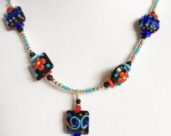 7 FIESTA PILLOW Lampwork Beads Necklace (Handcrafted)