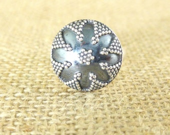 Ring silver Sterling ethnic round flower tribal