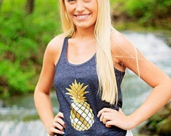 Pineapple Tank / Pineapple Shirt / SALE Bella Flowy Racerback / Summer Tank / Vacation Shirt / Hawaii / Vacation Tank / Workout Tank Women