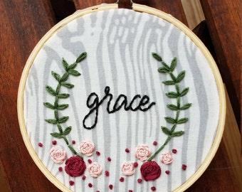 Grace Embroidery Hoop Art