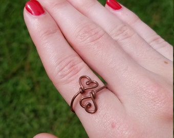 Wire wrapped adjustable double heart copper ring