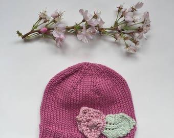 Knitted baby girl hat with flower, newborn hat knit, pink girl hat, infant beanie, newborn hat with flower, cotton baby hat, photo prop