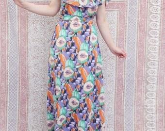 1970's dress 70s  Vintage Fruit print Summer dress Open shoulder maxi dress Feminist dress medium