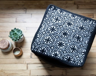 Square Pouf Ottoman, Black Floor Pouf Poof, Upholstered CrossStitched OttomanCover, Gift for Mom,Minimal Nordic Scandi Hygge Furniture Decor