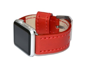 Red Leather Apple Watch Band 38mm - 42mm / Apple Watch Accessories, Leather Apple Watch Strap, iWatch Band Leather, Lugs Adapter