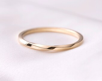 Skinny Twist gold ring, thin stackable ring, 14k solid gold ring, 14 k rose gold ring for her, anniversary gift, free shipping