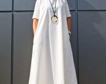 White Plus Size Maxi Dress/ Boho maxi dress/ Women's Clothing/ Kaftan Maxi dress/ Caftan Long dresses/ Cotton Boho Dress by YoLineXL