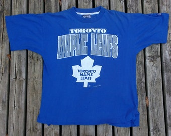 Vintage 1993 / 90's Toronto Maple Leafs t-shirt large Made in Canada by Softwear Athletics