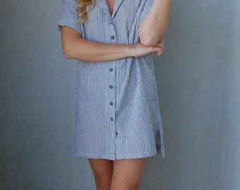 Railroad Stripe Shirt Dress