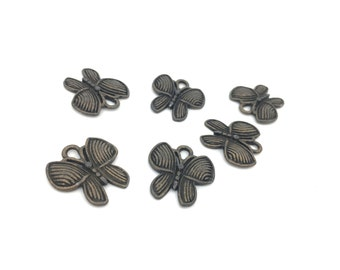 Metal Butterly Pendant, Animal Charm, Insect Charm, Butterfly Charm, Antique Bronze, Jewelry Making, 18mm, 6pc