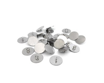 10mm Stainless Steel Button Base with Ring, Flat Button Blank, Bezel Setting