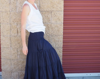 Gauze Cotton Boho Gypsy Tiered Maxi Skirt in NAVY // Pockets, Natural Fiber, Flexible Waistband / Breathable Elegance!