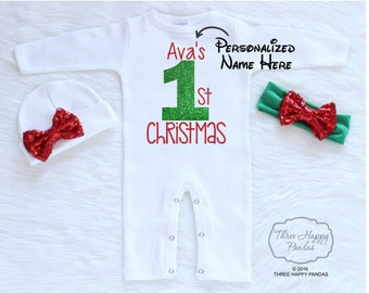 First Christmas Girl Outfit, Baby First Christmas, Personalized Baby First Christmas, Christmas Gift, Christmas Outfit Baby Girl, Christmas