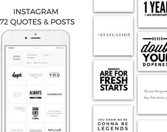 Instagram Social Media Post Bundle   Minimal, Black & White 172 PACK