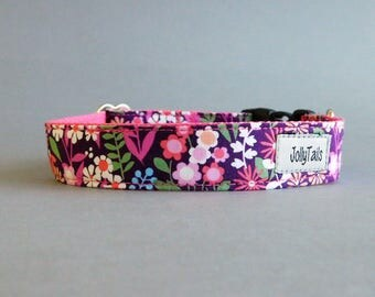 Floral girl dog collar for gift to puppy Fancy for female pet Girly romantic Teacup chihuahua From extra small to extra large Flowered