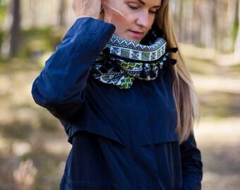 Infinity scarf Woman scarf Tribal scarf Aztec circle scarf Monochrome Loop scarf Neck warmer Aztec infinity scarf