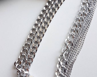 METAL CHAIN NECKLACE, silver, metal, fashionable, women gift, accessories, gift, women, An-If In Chains, намисто, collar