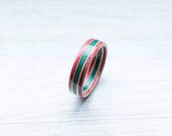 Skateboard Ring -red green Wooden Ring - Wooden bands - Wood Ring  - red/green - Wooden Jewelry - Waterproof Ring - Skate Ring -Wedding Ring