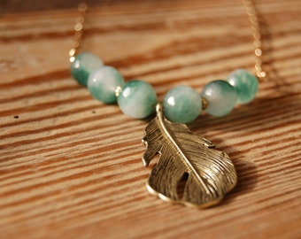 Long Statement Necklace - Gold Leaf with Teal