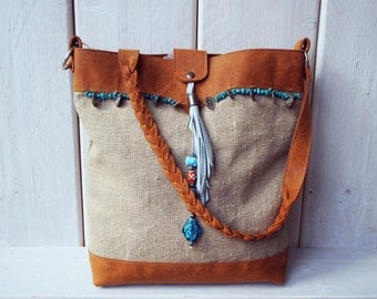 Linen & Leather Tote Bag,  Leather women shopper, Shopper Bag, Linen Shopper Bag, Shoulder Bag, Tote Bag, Shopperbag with beads. Boho Bag