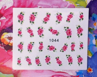 Assorted Pink Bouquets Floral Flower Nail Decals Tattoo Water Transfer Wedding Bridal Bride Nature B153