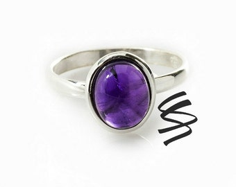 Purple Amethyst Ring Sterling Silver Amethyst Jewelry Silver Ring Gemstone Jewelry Promise Ring February Birthstone Ring Size Gift For Her