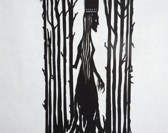 Queen Of The Wood Paper Cut Design