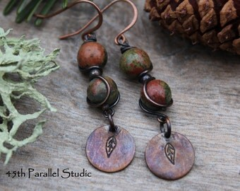 Unakite Copper Earrings, Hand Stamped Jewelry, Boho Earrings, Rustic Copper Earrings, Unakite Jewelry, Green Earrings, Nature Inspired