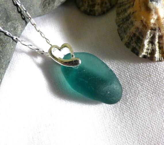 Striking Teal Sea Glass Heart Sterling Silver Pendant - PE16017
