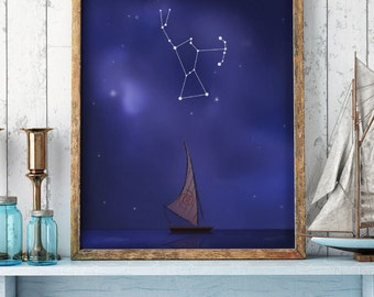 Orion sign, Orion constellation, moana print, moana drawing, sky stars, disney print, zodiac sign, horoscope, printable art, Orion artwork