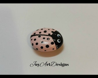 Ladybug Magnet Pink Black Hand Painted Stone Gift Pet Rock Ladybird Cute Bug Insect Beetle Art Kitchen Locker Office Decor