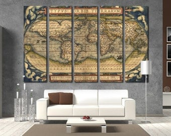 Old World Map Wall Art Vintage World Map Canvas Print Wall Art World Map Wall Decor World Map Print Vintage World Map Poster