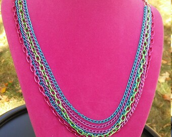 Colorful multi strand necklace