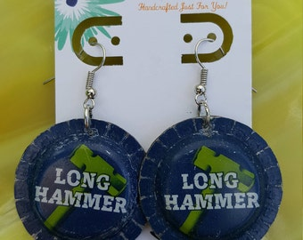 Long Hammer Beer Bottlecap Earrings