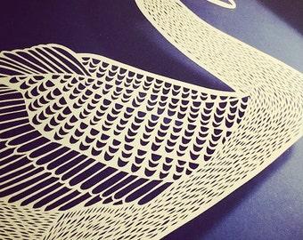 Handmade Papercut Swan