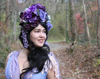 Lavender & Plum Floral Headdress