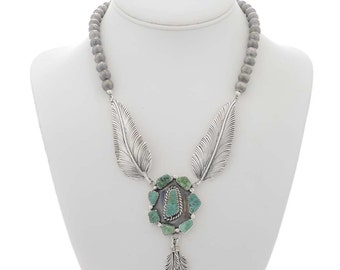 Turquoise Silver Y Feather Necklace with Desert Pearl Beads
