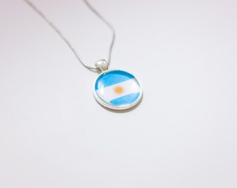 Argentinean flag necklace,  Argentinean necklace, Argentina pendant, Argentinean Danish jewelry, flag necklace, silver necklace flag jewelry