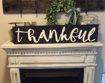Thankful sign/ country sign/ farmhouse decor/ 3 ft large/wood sign/ instock