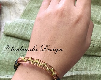 boho copper and brass wires bracelet
