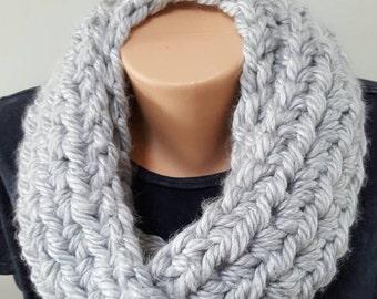 Soft Gray Bulky Silver Crochet Infinity Scarf - Chunky - ON SALE