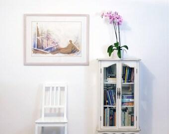 Original Watercolor Figure Painting, Watercolor Painting, Abstract Watercolor Art, Painting Woman, Blue Painting, Figure Watercolor Wallart
