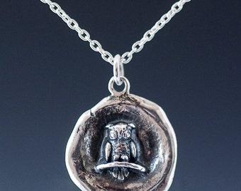 Silver Owl Wax Seal Necklace, handmade silver owl, sterling silver owl, owl wax seal, owl pendant, silver owl necklace, owl gift, silver owl