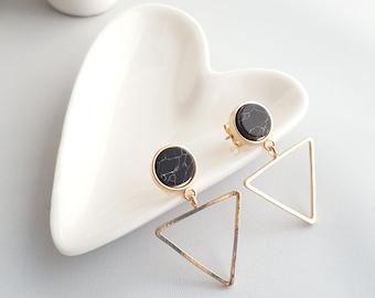 Black Marble Earrings, Triangle Geo Earrings, Triangle Earrings, Black Marble Stud Earrings, Marble Minimalist Earrings, Geo Marble Earrings