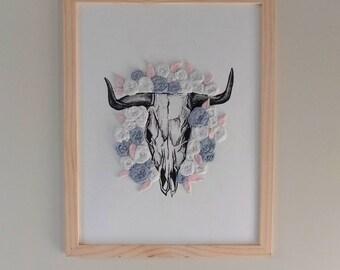 Embroidery on illustration • skull flower vanity • tattoo •