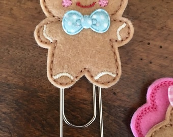 Gingerbread Man Felt w/ Bowtie • Baking • Giant • Extra Large Clip • Planner Accessory • Bookmark • Paperclip • Planner • Journal Clip • TN
