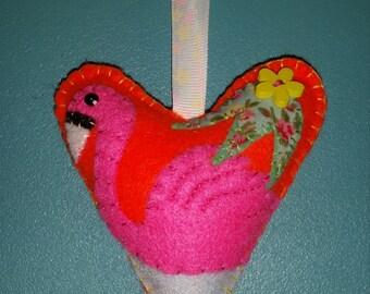 Pink Flamingo Decorative Felt Hanging Heart